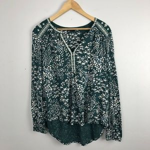 Lucky Brand Embroidered Y Neck Shirt Blouse Elasti